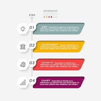 六角形のデザイン、正方形のラベル、4つのステップ、インフォグラフィックを組み合わせたもの。