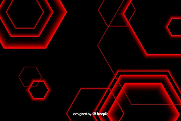 Hexagonal design in red light lines