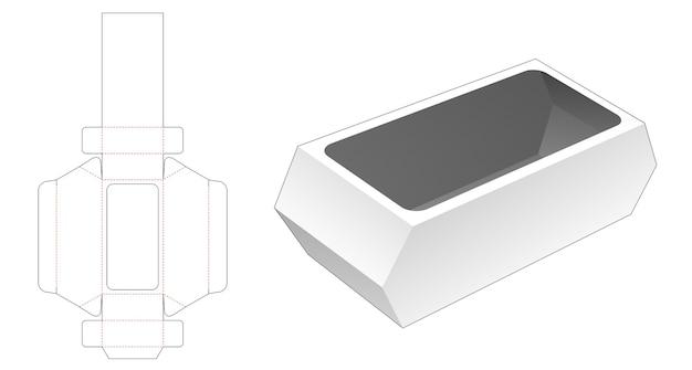 Hexagonal food container die cut template