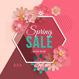 Hexagonal frame spring sale with paper flowers