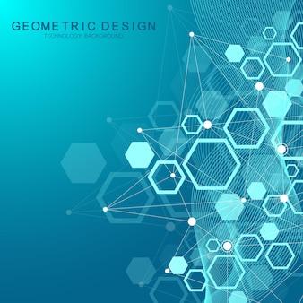 육각형 기하학적 배경입니다. 육각형 유전 및 소셜 네트워크. 미래의 기하학적 템플릿입니다. 디자인 및 텍스트에 대한 비즈니스 프레젠테이션입니다. 최소한의 그래픽 개념입니다. 벡터 일러스트 레이 션.