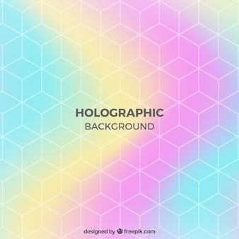 Шестиугольный геометрический фон с голографическим эффектом
