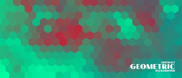 이중 톤 색상 스타일의 6 각형 기하학적 배너