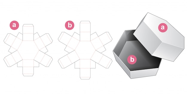 Hexagonal gift box and lid die cut template