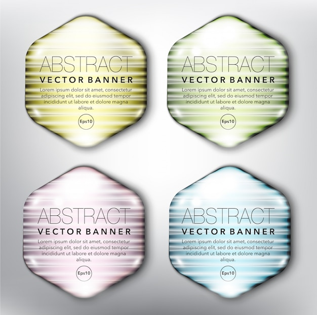 Hexagonal glass web banners set. isolated on white surface.