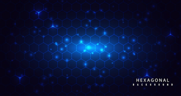 Hexagonal glow with abstract particle background