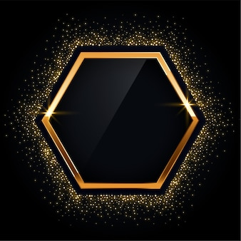 Hexagonal golden frame with glitter background