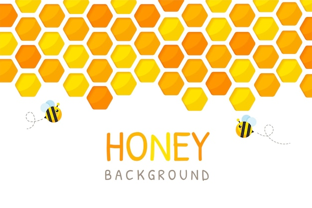 Hexagonal golden yellow honeycomb paper cut background with bee and sweet honey inside.