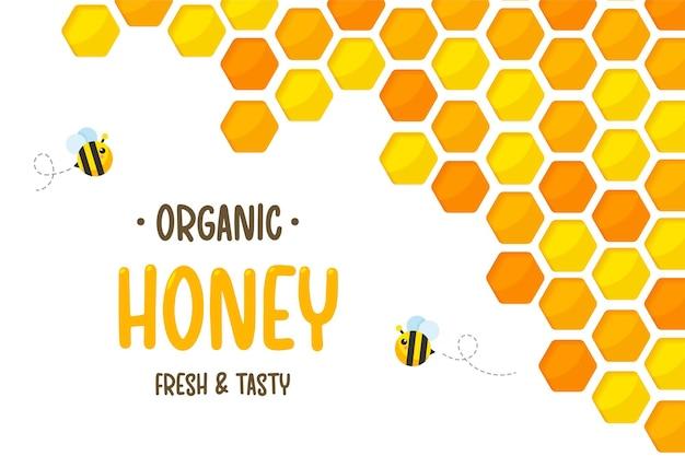 Hexagonal golden yellow honeycomb paper cut with bee and sweet honey inside.