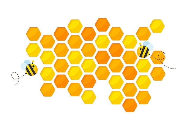 Hexagonal golden yellow honeycomb pattern paper cut background with bee and sweet honey inside.