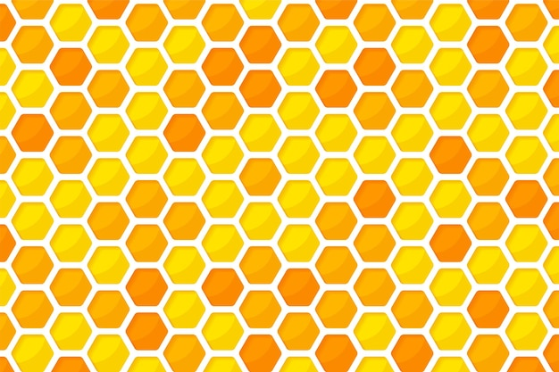 Hexagonal golden yellow honeycomb pattern paper cut background with sweet honey inside.