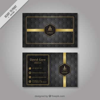 Hexagonal grey company card with golden details
