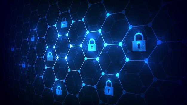 南京錠のアイコンが付いた六角形のグリッドの背景。セキュリティとブロックチェーンのネットワークコンセプト