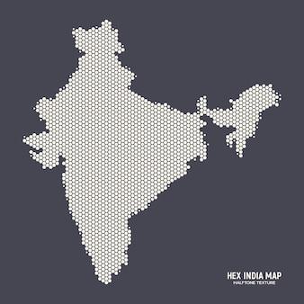 六角形のハーフトーンインド地図技術抽象的な背景