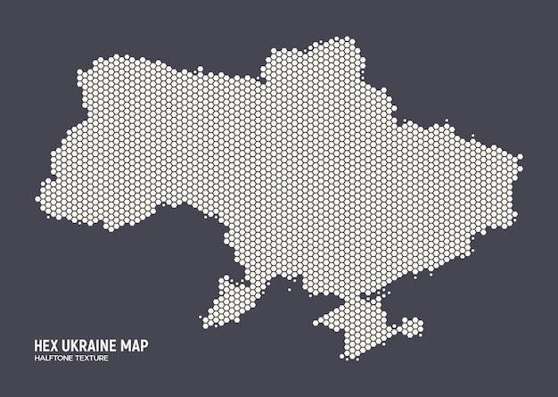Hexagonal halftone pattern ukraine map in retro colors