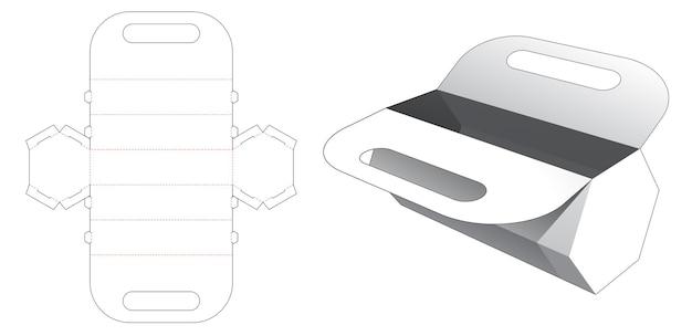 Hexagonal handle bag die cut template