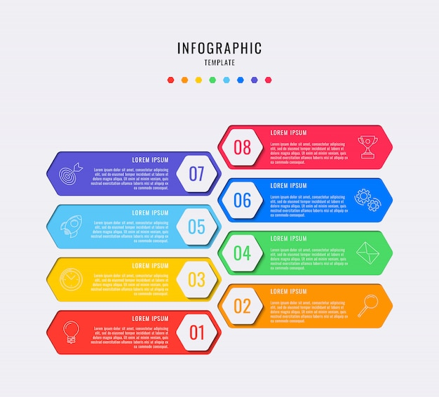 Hexagonal infographic elements with eight steps, options, parts or processes with text boxes and marketing line icons.