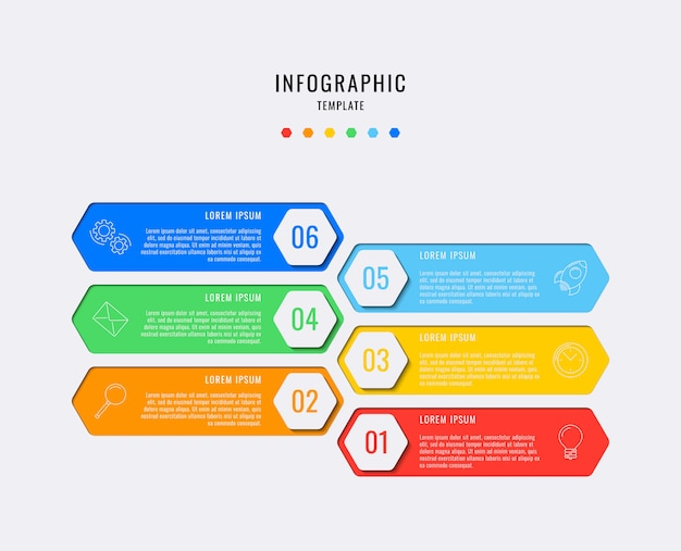 Hexagonal infographic elements with six steps, options, parts or processes with text boxes