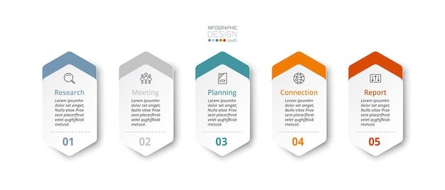 Hexagonal infographic with 5 steps used for reporting results planning and presenting work. illustration.