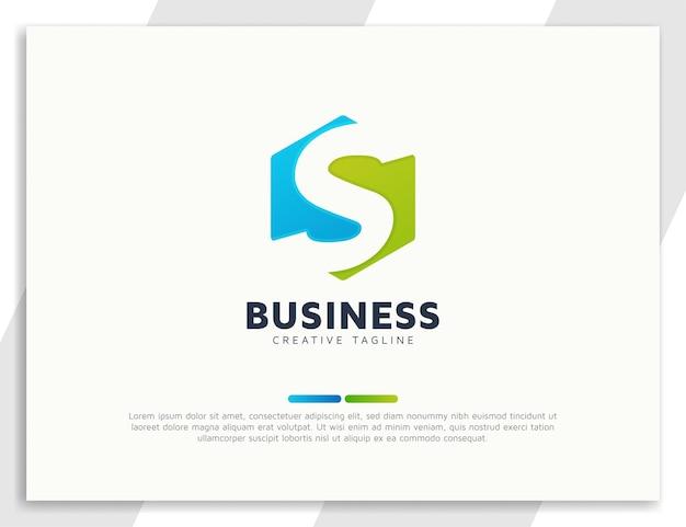 Шаблон дизайна логотипа бизнеса шестиугольной буквы s