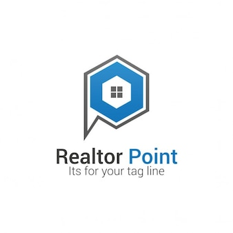 Hexagonal logo with a house