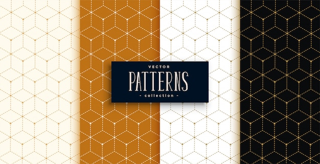 Hexagonal luxury pattern set in geometric line style