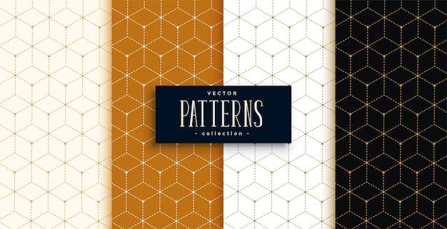 Modello di lusso esagonale impostato in stile linea geometrica