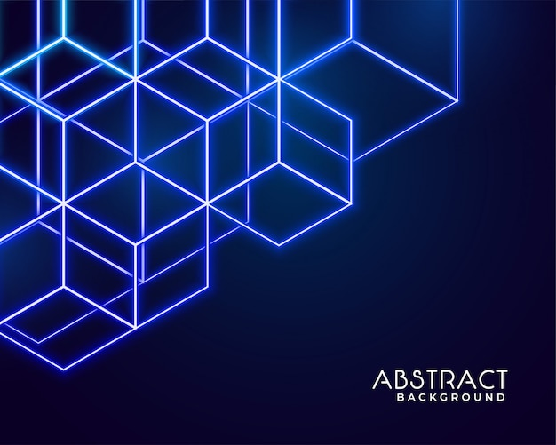 Hexagonal neon shapes abstract technology