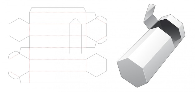Hexagonal packaging box with with zipping die cut template