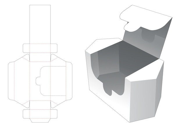 Hexagonal packaging with zipping opening die cut template