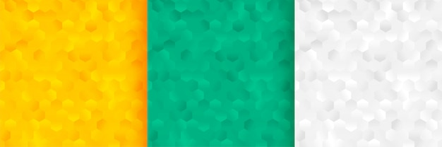 Hexagonal patterns background set in three colors