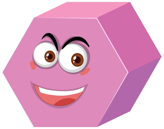 Hexagonal prism cartoon character with face expression on white background