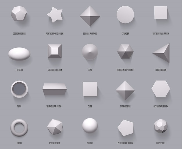 Hexagonal realistic  shapes. basic geometric shapes, math 3d figure forms cube, cylinder and prism shapes top view  illustration set. geometry sphere and pyramid, form and cube