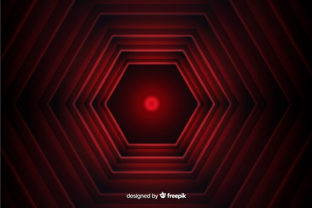 Hexagonal red lines geometric background