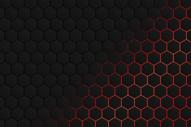Hexagonal shape, black gray pattern with red light background