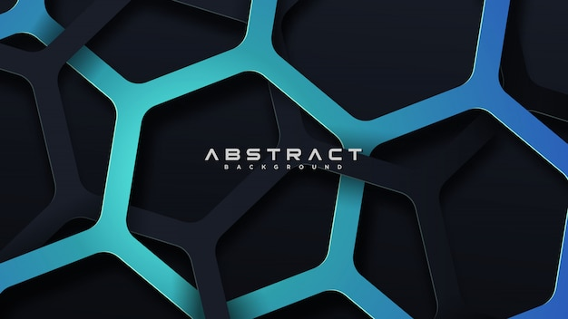 Hexagonal shape line abstract blue and dark background design template