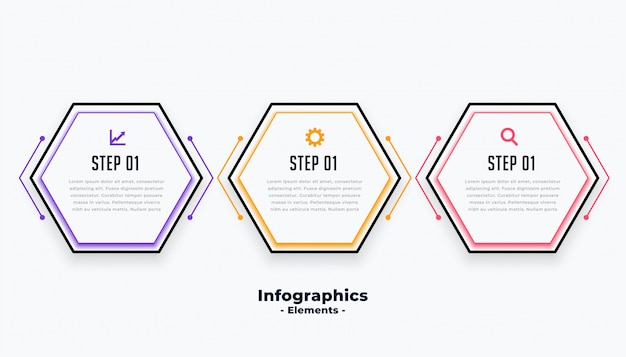 Hexagonal shape three steps modern inforaphic template