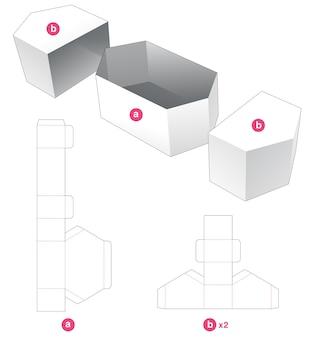2 개의 커버 다이 컷 템플릿이있는 육각형 보울