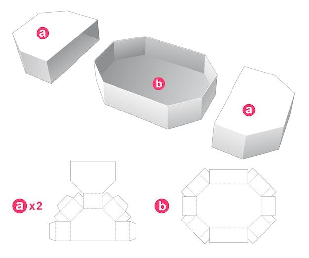 2 개의 커버 다이 컷 템플릿이있는 육각형 상자