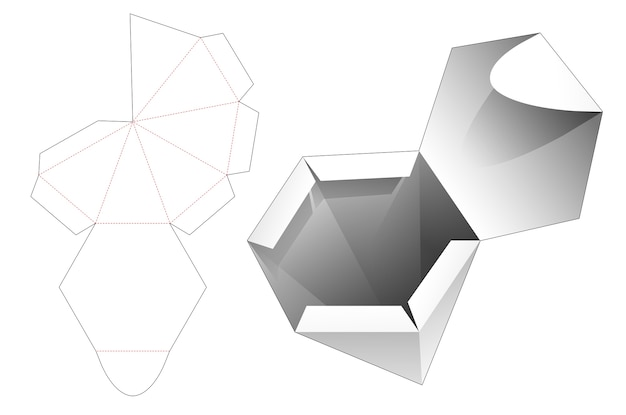 Hexagonal shaped pylon box die cut template
