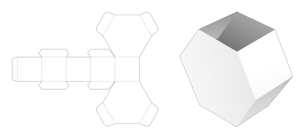 Hexagonal shaped stationery box die cut template