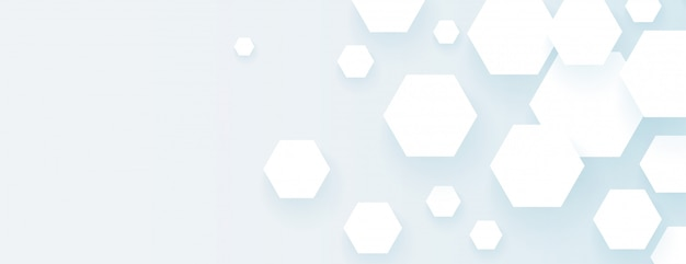 Hexagonal shapes empty wide banner abstract design