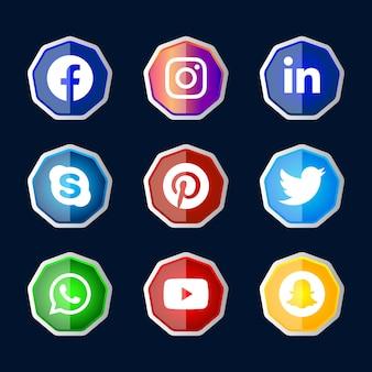 Ux ui 온라인 사용을 위해 설정된 그라디언트 효과가있는 육각형 반짝이는 실버 프레임 소셜 미디어 아이콘 버튼