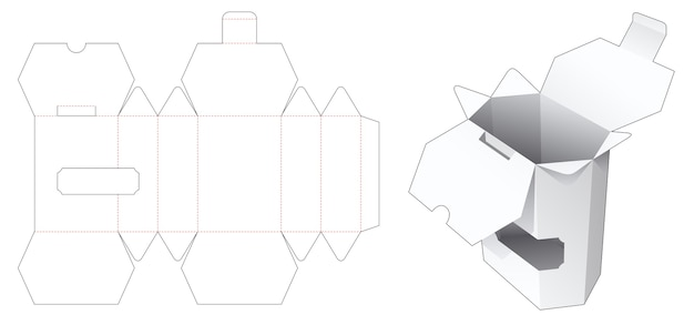 Hexagonal snack box with 2 flips and display window die cut template