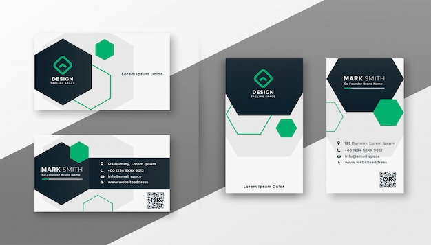 Hexagonal style modern business card template set