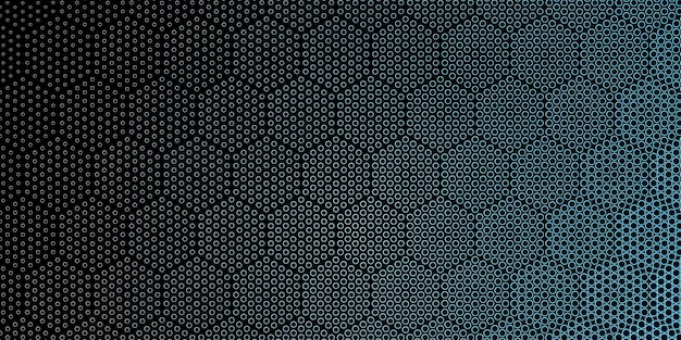 Hexagonal style outline halftone dots pattern background