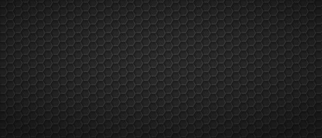 六角形の網目模様のグリッドの背景黒の幾何学的な多角形のシート