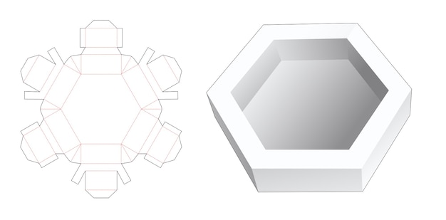 Hexagonal tray die cut template