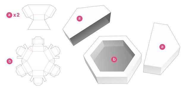 2 개의 덮개가있는 육각형 트레이 다이 컷 템플릿