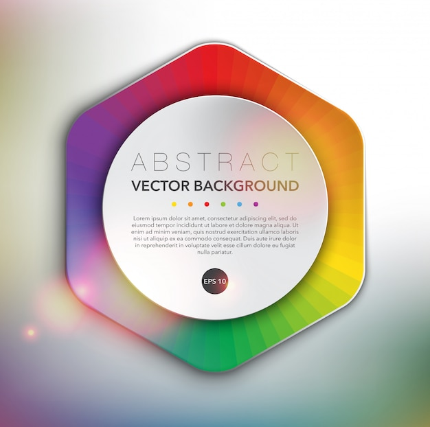 スペクトルカラーデザインの六角形のwebバナー。抽象的なベクトルの表面。
